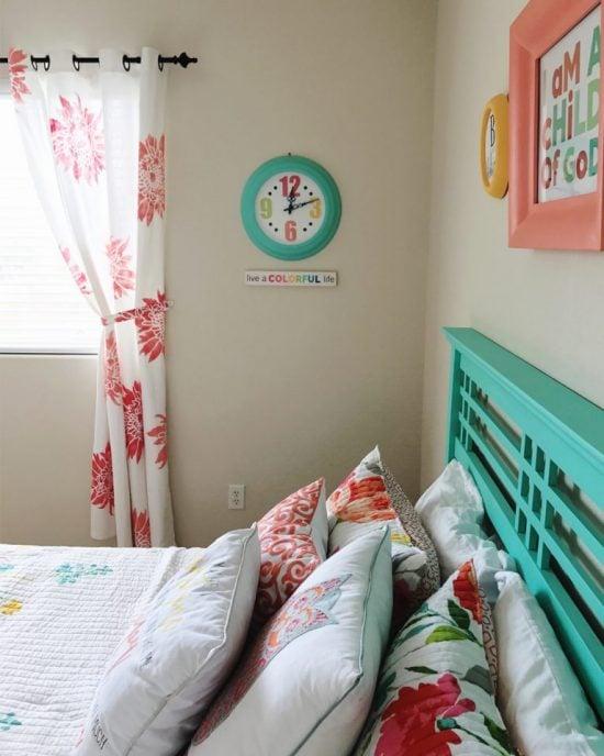 DIY stenciled curtains in a girl's bedroom using the Chrysanthemum Grande Flower Stencil from Cutting Edge Stencils. http://www.cuttingedgestencils.com/flower-stencil-4.html