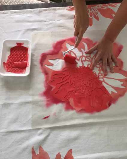 Learn how to stencil curtains in a girl's bedroom using the Chrysanthemum Grande Flower Stencil from Cutting Edge Stencils. http://www.cuttingedgestencils.com/flower-stencil-4.html