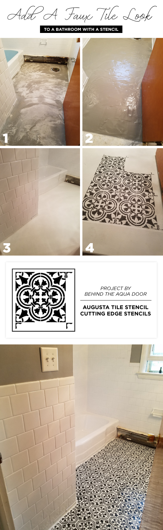 Add A Faux Tile Look To A Bathroom With A Stencil - Stencil Stories ...