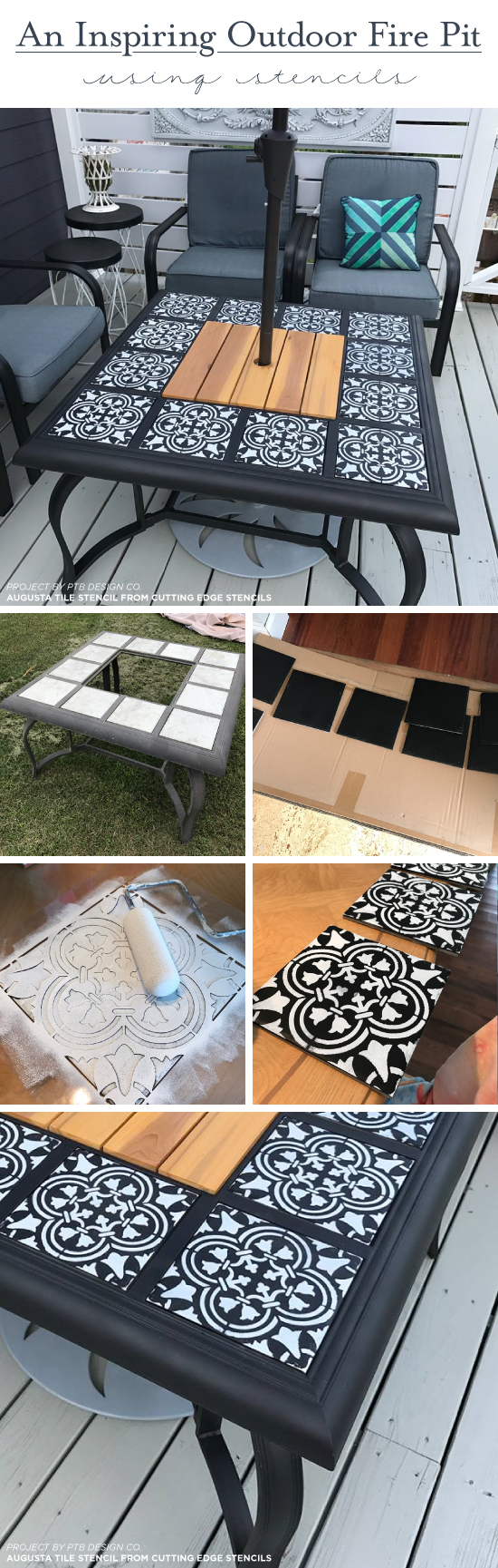 Cutting Edge Stencils shares how to makeover an old outdoor fire pit using the Augusta Tile pattern. http://www.cuttingedgestencils.com/augusta-tile-stencil-design-patchwork-tiles-stencils.html