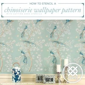 Cutting Edge Stencils shares how to stencil a wallpaper look using the Chinoiserie Birds and Roses Wall Mural pattern. http://www.cuttingedgestencils.com/chinoiserie-wall-stencil-mural-panel-asian-design.html