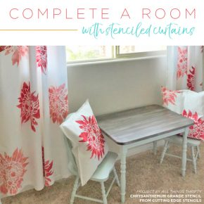 Cutting Edge Stencils shares how to customize plain white curtain panels using chalk paint and a flower stencil pattern. http://www.cuttingedgestencils.com/flower-stencil-4.html