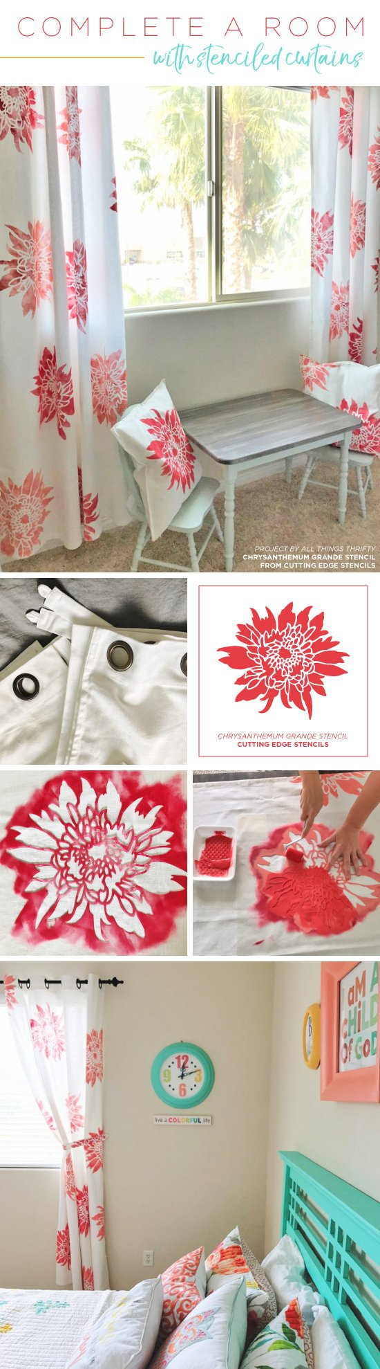 Cutting Edge Stencils shares how to customize plain white curtain panels using chalk paint and a flower stencil pattern. http://www.cuttingedgestencils.com/flower-stencil-4.html