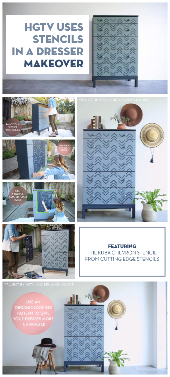 Cutting Edge Stencils shares and HGTV tutorial on painting and stenciling a wooden dresser. http://www.cuttingedgestencils.com/kuba-chevron-stencil-kim-myles.html