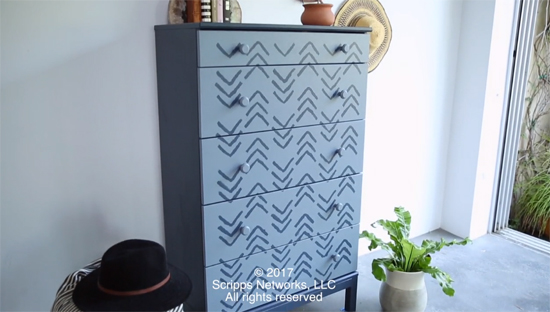 A DIY painted and stenciled dresser makeover using the Kuba Chevron Stencil, designed by Kim Myles, from Cutting Edge Stencils. http://www.cuttingedgestencils.com/kuba-chevron-stencil-kim-myles.html