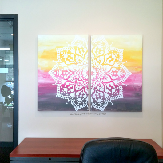 DIY stenciled canvas artwork using the Passion Mandala Stencil from Cutting Edge Stencils. http://www.cuttingedgestencils.com/passion-mandala-stencil-yoga-decal-wall-stencils-mandalas.html