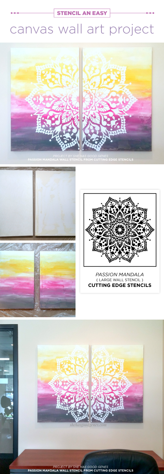Stencil an easy canvas wall art project for Printable stencils for canvas painting
