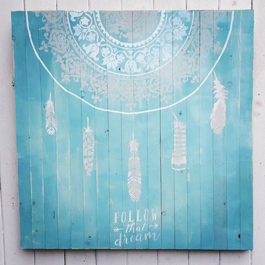Learn how to craft DIY reclaimed wood wall art that looks like a dream catcher using the Prosperity Mandala Stencil and Feathers Stencil Kit from Cutting Edge Stencils. http://www.cuttingedgestencils.com/prosperity-mandala-stencil-yoga-mandala-stencils-designs.html