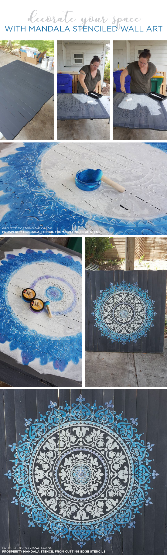 Cutting Edge Stencils shares how to stencil DIY reclaimed wood wall art using a Mandala Stencil pattern.  http://www.cuttingedgestencils.com/prosperity-mandala-stencil-yoga-mandala-stencils-designs.html
