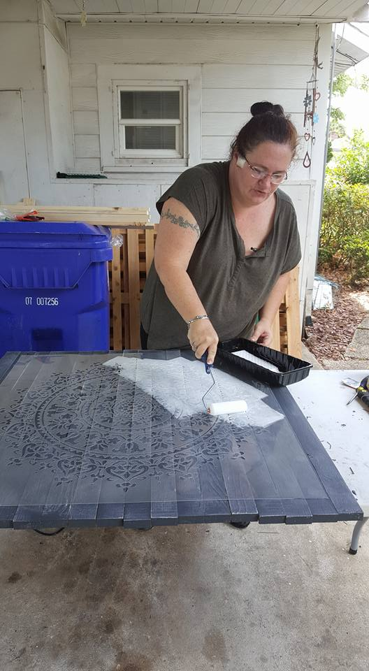 Learn how to craft DIY reclaimed wood wall art using the Prosperity Mandala Stencil from Cutting Edge Stencils. http://www.cuttingedgestencils.com/prosperity-mandala-stencil-yoga-mandala-stencils-designs.html