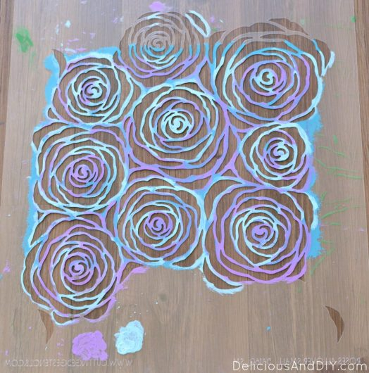 Easily craft DIY stenciled canvas artwork using the Roses Wall Stencil from Cutting Edge Stencils. http://www.cuttingedgestencils.com/roses-stencil-pattern-rose-design.html