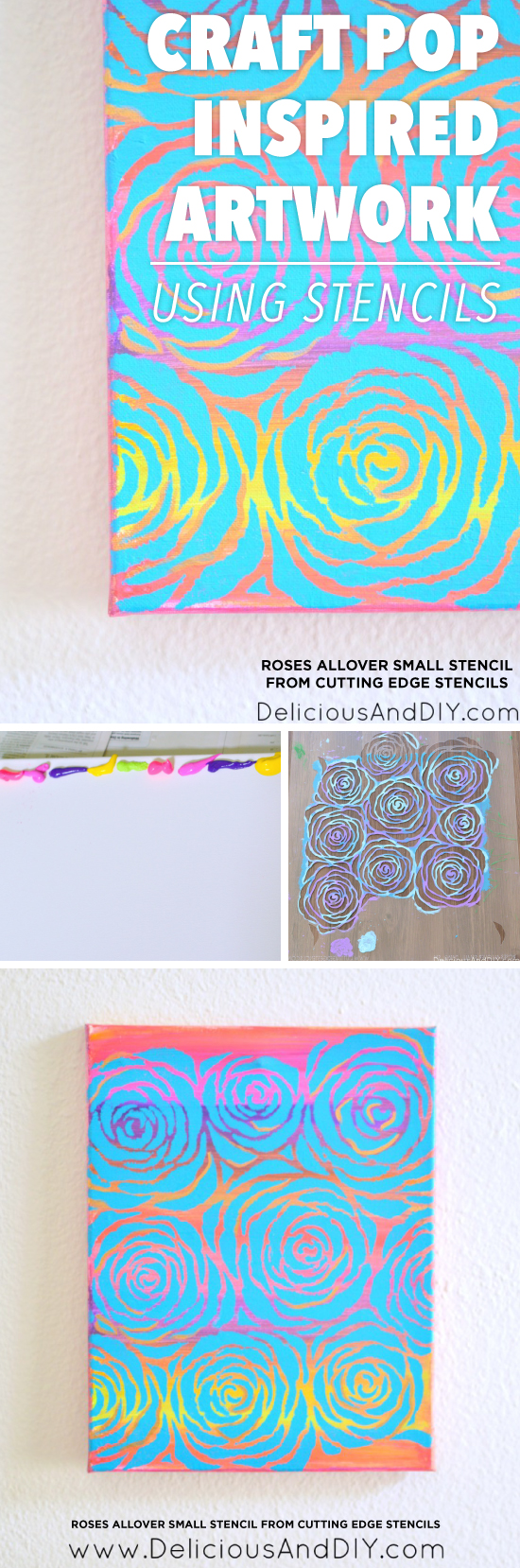 Cutting Edge Stencils shares how to craft Pop Art inspired artwork using our Roses Wall Stencil. http://www.cuttingedgestencils.com/roses-stencil-pattern-rose-design.html