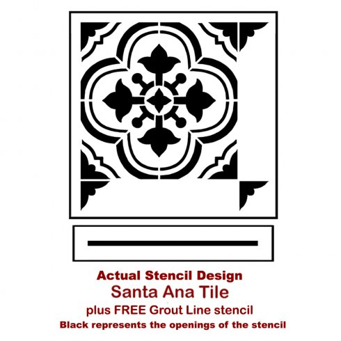 The Santa Ana Tile Stencil from Cutting Edge Stencils. http://www.cuttingedgestencils.com/santa-ana-tile-stencil-spanish-tiles-cement-tile-patterns.html