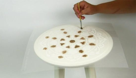 Learn how to stencil a plain Ikea nesting table using the Atma Mandala Stencil from Cutting Edge Stencils in Modern Masters metallic paint. http://www.cuttingedgestencils.com/stencil-mandala-atma-medallion-deisgn-stencils.html