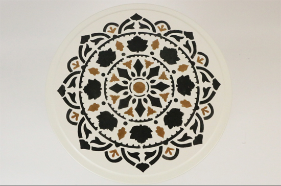Learn how to stencil a plain Ikea nesting table using the Atma Mandala Stencil from Cutting Edge Stencils in Modern Masters metallic paint. http://www.cuttingedgestencils.com/stencil-mandala-atma-medallion-deisgn-stencils.html