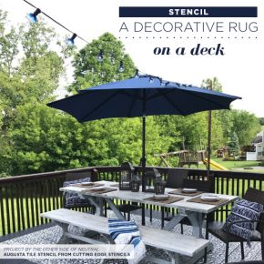 Cutting Edge Stencils shares how to stencil an outdoor rug on a deck using the Augusta Tile pattern. http://www.cuttingedgestencils.com/augusta-tile-stencil-design-patchwork-tiles-stencils.html