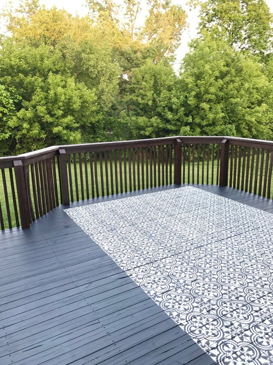 Learn how to stencil a DIY outdoor rug on a deck using the Augusta Tile Stencil pattern from Cutting Edge Stencils. http://www.cuttingedgestencils.com/augusta-tile-stencil-design-patchwork-tiles-stencils.html