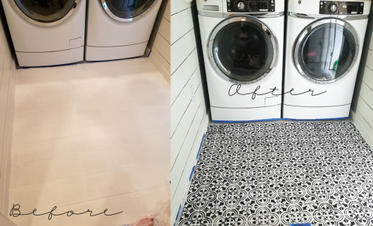 The before and after of a stenciled laundry room floor using the Augusta Tile Stencil from Cutting Edge Stencils. http://www.cuttingedgestencils.com/augusta-tile-stencil-design-patchwork-tiles-stencils.html