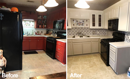 A before and after of a kitchen makeover with a stenciled faux tile backsplash using the Santa Ana Tile Stencil from Cutting Edge Stencils. http://www.cuttingedgestencils.com/santa-ana-tile-stencil-spanish-tiles-cement-tile-patterns.html