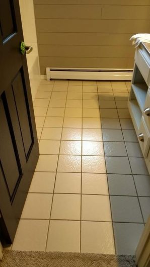 A bathroom before its stenciled floor makeover. http://www.cuttingedgestencils.com/jewel-tile-stencil-cement-tiles-stencils.html