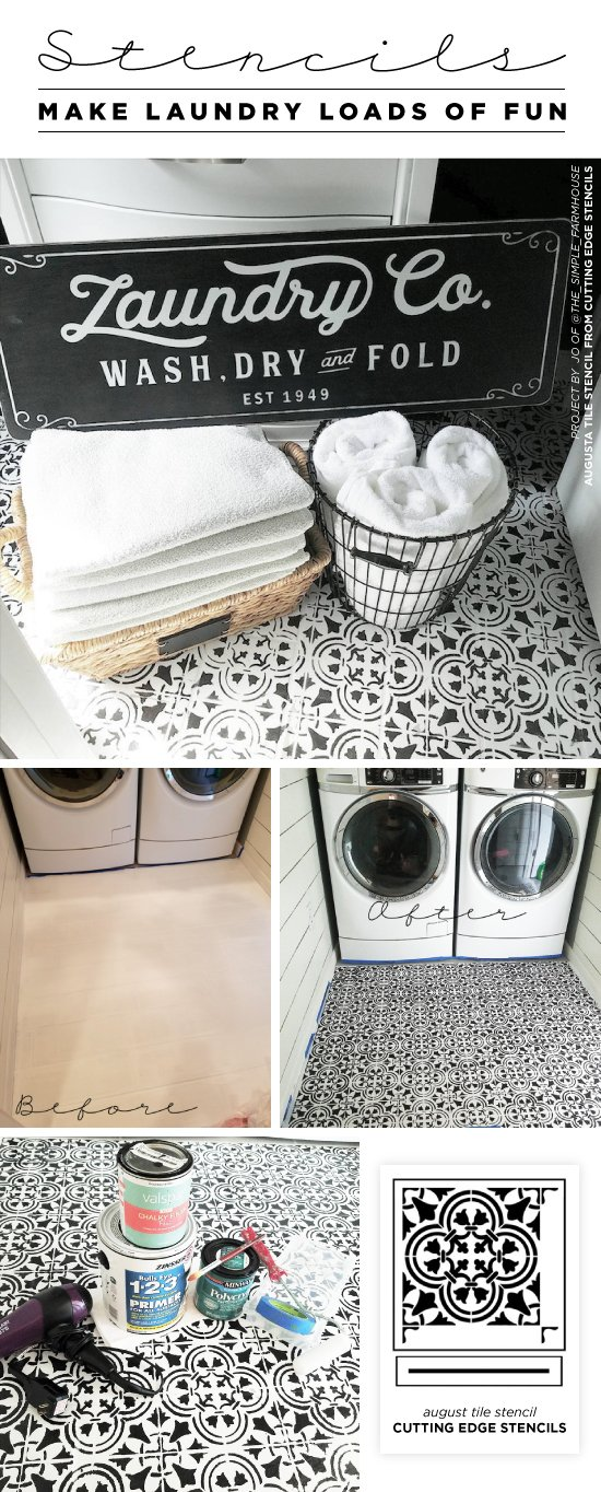 Cutting Edge Stencils shares how to stencil a laundry room floor using the Augusta Tile stencil pattern. http://www.cuttingedgestencils.com/augusta-tile-stencil-design-patchwork-tiles-stencils.html