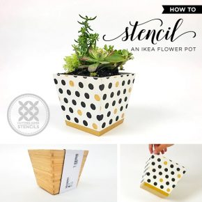Cutting Edge Stencils shares how to stencil an Ikea wooden flower pot using our Polka Dot Craft pattern. http://www.cuttingedgestencils.com/polka-dot-stencils-for-DIY-crafts.html