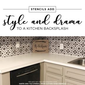Cutting Edge Stencils shares a kitchen makeover with a faux tile backsplash using the Santa Ana Tile pattern. http://www.cuttingedgestencils.com/santa-ana-tile-stencil-spanish-tiles-cement-tile-patterns.html