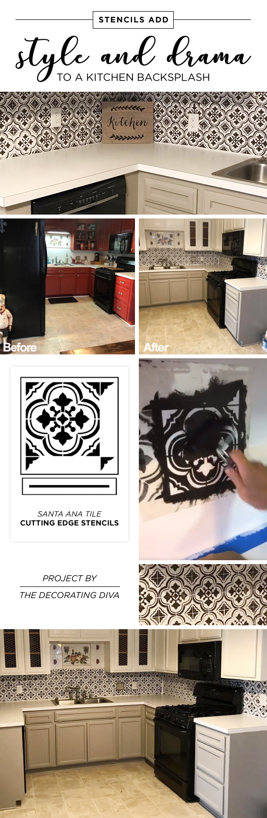 Stencils add style and drama to a kitchen backsplash stencil cutting edge stencils shares a kitchen makeover with a faux tile backsplash using the santa ana dailygadgetfo Choice Image