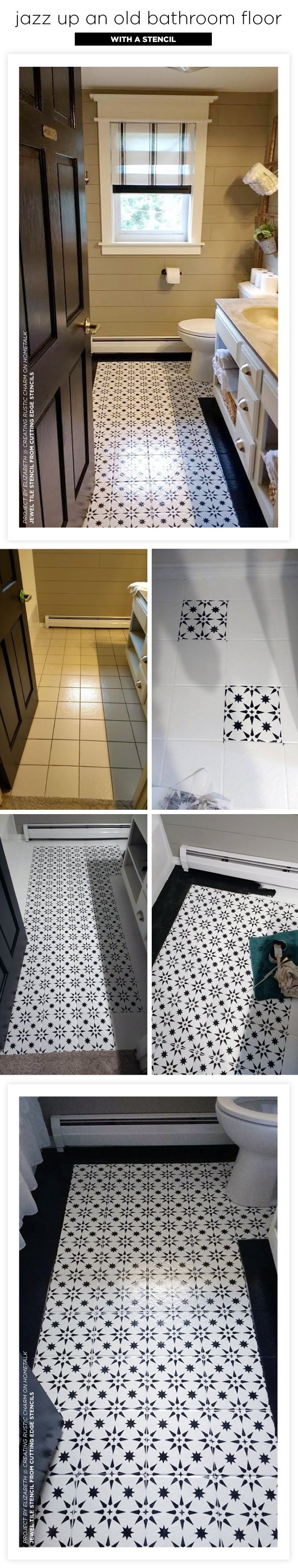 Cutting Edge Stencils shares a ceramic bathroom floor makeover using the Jewel Tile Stencil. http://www.cuttingedgestencils.com/jewel-tile-stencil-cement-tiles-stencils.html
