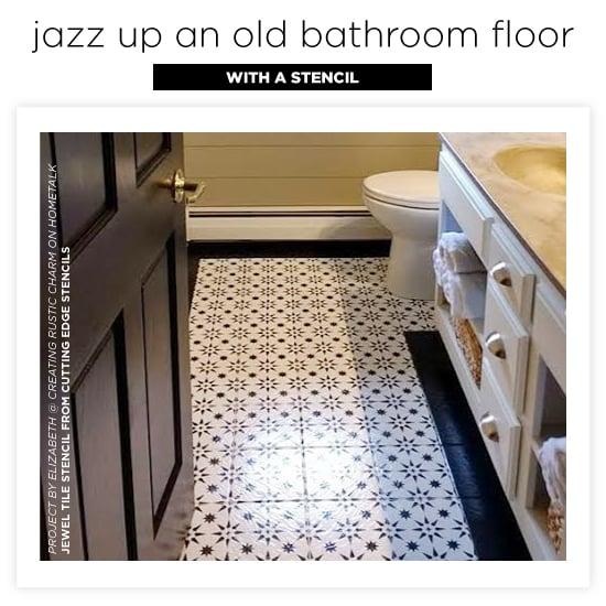 Jazz Up An Old Bathroom Floor Using Stencils Stencil Stories