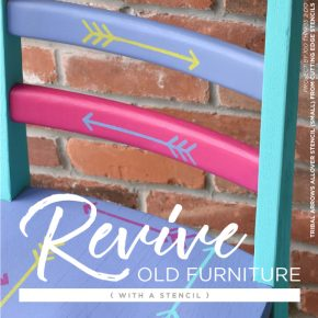 Cutting Edge Stencils shares how to makeover a wooden chair using Arborcoat in vibrant colors and the Tribal Arrows Furniture Stencil. http://www.cuttingedgestencils.com/tribal-arrow-pattern-stencils-wall-decor.html