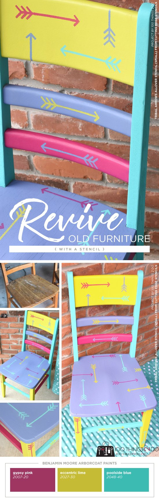 Cutting Edge Stencils Shares How To Makeover A Wooden Chair Using Arborcoat  In Vibrant Colors And