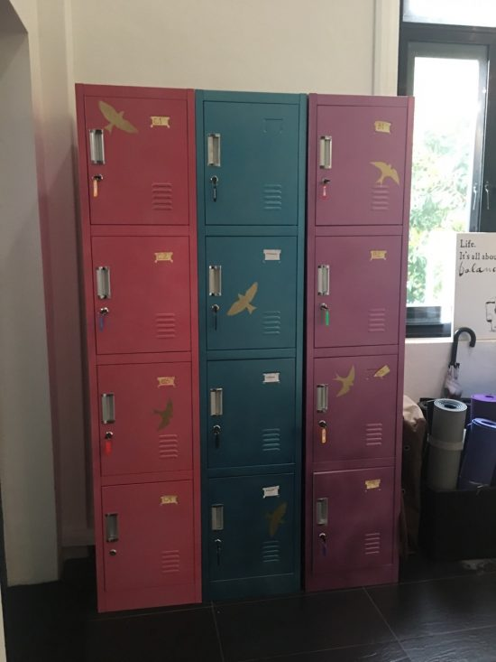 The lockers are decorated with the free stencil that comes with purchase from Cutting Edge Stencils. http://www.cuttingedgestencils.com/wall-stencils.html