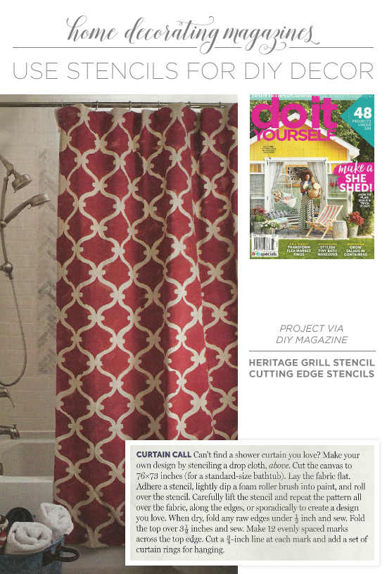 Do it yourself magazine uses stencils for diy decor stencil diy magazine uses the tuscan trellis wall stencil to craft stenciled curtains out of a drop solutioingenieria Gallery