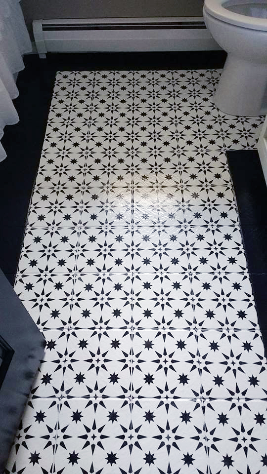 Learn how to stencil an old ceramic tile bathroom floor using the Jewel Tile Stencil from Cutting Edge Stencils. http://www.cuttingedgestencils.com/jewel-tile-stencil-cement-tiles-stencils.html