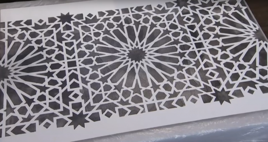 Learn how to stencil a concrete balcony using the Medina Moroccan Tile Stencil from Cutting Edge Stencils. http://www.cuttingedgestencils.com/medina-moroccan-design-tile-stencil-wall-stencils.html
