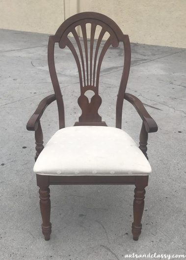 A chair before its paint and stencil makeover. http://www.cuttingedgestencils.com/peacock-feathers-stencil-for-pillow-kit.html