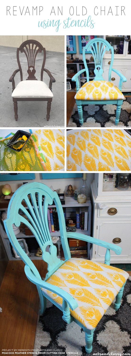 Cutting Edge Stencils shares how to stencil fabric for a wooden chair makeover using the Peacock Feather Furniture Stencil. http://www.cuttingedgestencils.com/peacock-feathers-stencil-for-pillow-kit.html