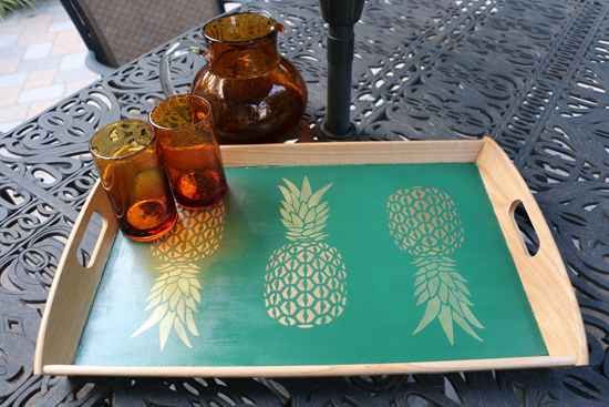 Learn how to decorate a wooden Ikea Klack tray using the Pineapple Stencil from Cutting Edge Stencils. http://www.cuttingedgestencils.com/pineapple-stencil-design-wall-stencils.html