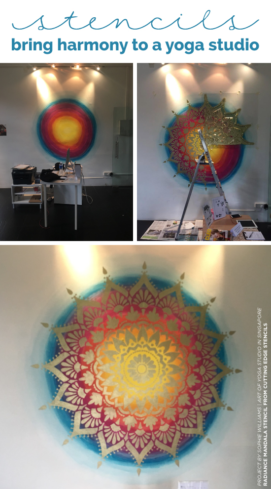 Cutting Edge Stencils shares how a yoga studio added stylish harmony to an accent wall using the Radiance Mandala Stencil in gold over Unicorn Spit gel stain. http://www.cuttingedgestencils.com/radiance-mandala-stencil-yoga-mandala-stencils-decal.html