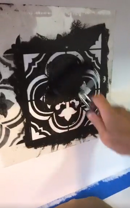 Learn how to stencil a kitchen backsplash using the Santa Ana Tile Stencil from Cutting Edge STencils. http://www.cuttingedgestencils.com/santa-ana-tile-stencil-spanish-tiles-cement-tile-patterns.html