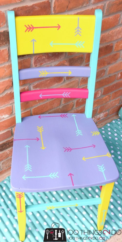 A DIY stenciled wooden chair using the Tribal Arrows furniture stencil from Cutting Edge Stencils. http://www.cuttingedgestencils.com/tribal-arrow-pattern-stencils-wall-decor.html