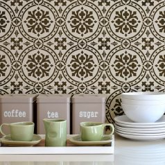 The Calista Tile Stencil from Cutting Edge Stencils. http://www.cuttingedgestencils.com/calista-tile-stencil-backsplash-cement-tiles-stencils.html