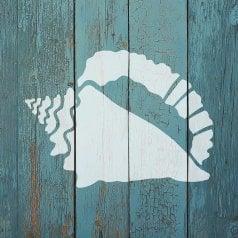 The Conch Sea Shell Wall Art Stencil from Cutting Edge Stencils. http://www.cuttingedgestencils.com/conch-shell-wall-stencil-nautical-wall-designs.html