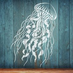 The Large Jelly Fish Stencil from Cutting Edge Stencils. http://www.cuttingedgestencils.com/large-jelly-fish-stencil-nautical-wall-stencils-wall-art.html