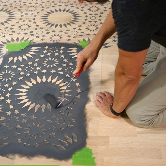 Learn how Weaber Lumber stenciled a hardwood floor using the Ambrosia Moroccan Tile Stencil from Cutting Edge Stencils. http://www.cuttingedgestencils.com/moroccan-tile-pattern-stencil-design.html