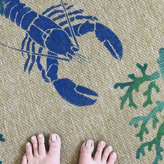 Learn how to stencil an Ikea sisel rug using the Lobster and Coral Stencil from the Nautical Stencil Collection from Cutting Edge Stencils. http://www.cuttingedgestencils.com/beach-decor-stencils-designs-nautical.html