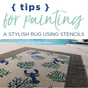 Cutting Edge Stencils shares a DIY Ikea rug makeover using Nautical Stencils including the lobster and coral pattern. http://www.cuttingedgestencils.com/beach-decor-stencils-designs-nautical.html