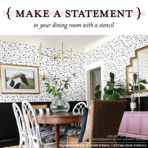 Cutting Edge Stencils shares a dining room that used stencils to achieve a wallpaper look. http://www.cuttingedgestencils.com/dalmatian-spots-stencil-dots-wallpaper-pattern.html