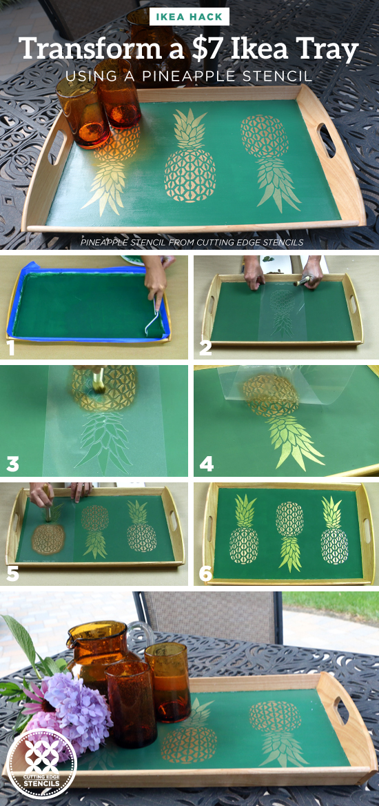Cutting Edge Stencils shares how to enhance a $7 wooden serving tray from Ikea using the Pineapple Stencil. http://www.cuttingedgestencils.com/pineapple-stencil-design-wall-stencils.html
